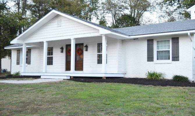 Adding Porch Ranch Style House Before After