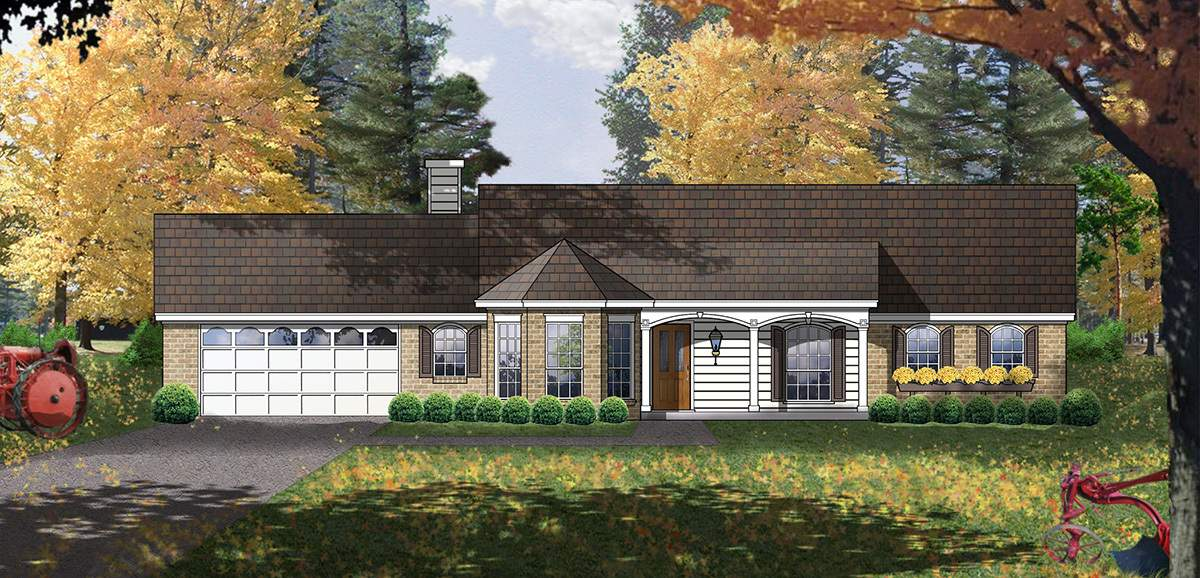 Affordable American Country Home Architectural