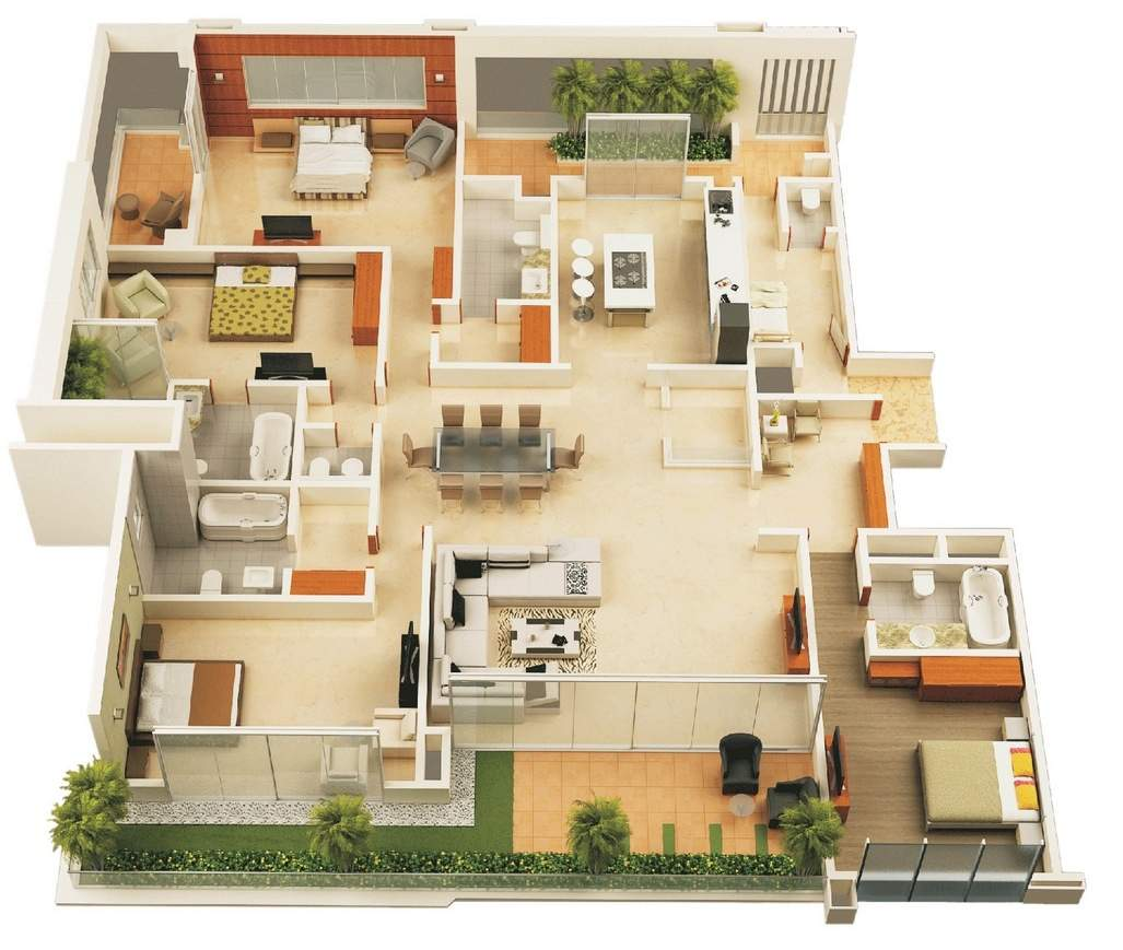 Bedroom Apartment House Plans - HG Styler
