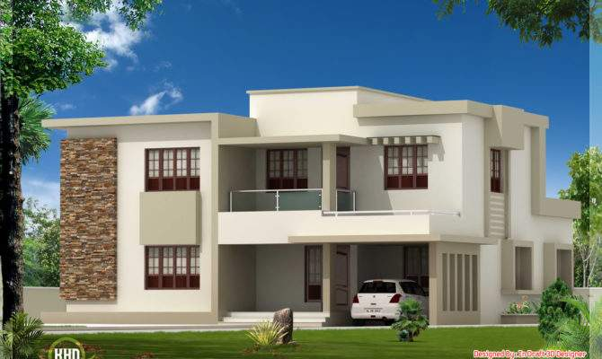 Bedroom Contemporary Flat Roof Home Design House Plans