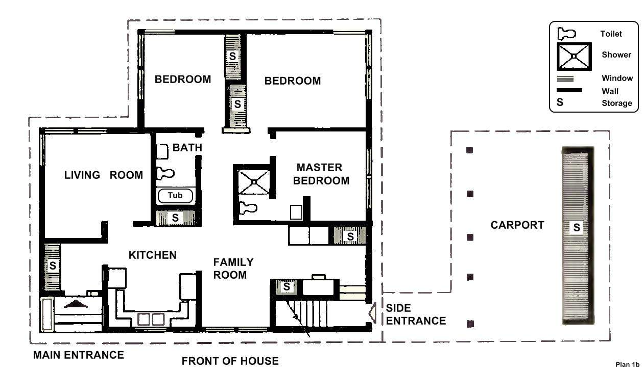 Bedroom Designs Two House Plans Spacious Car Port