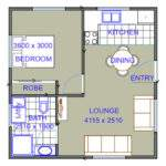 Bedroom Granny Flat Floor Plans One