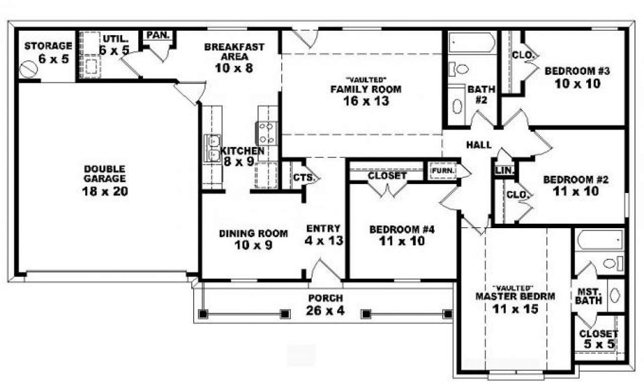 Bedroom House One Story Open Floor Plan Home Deco Plans