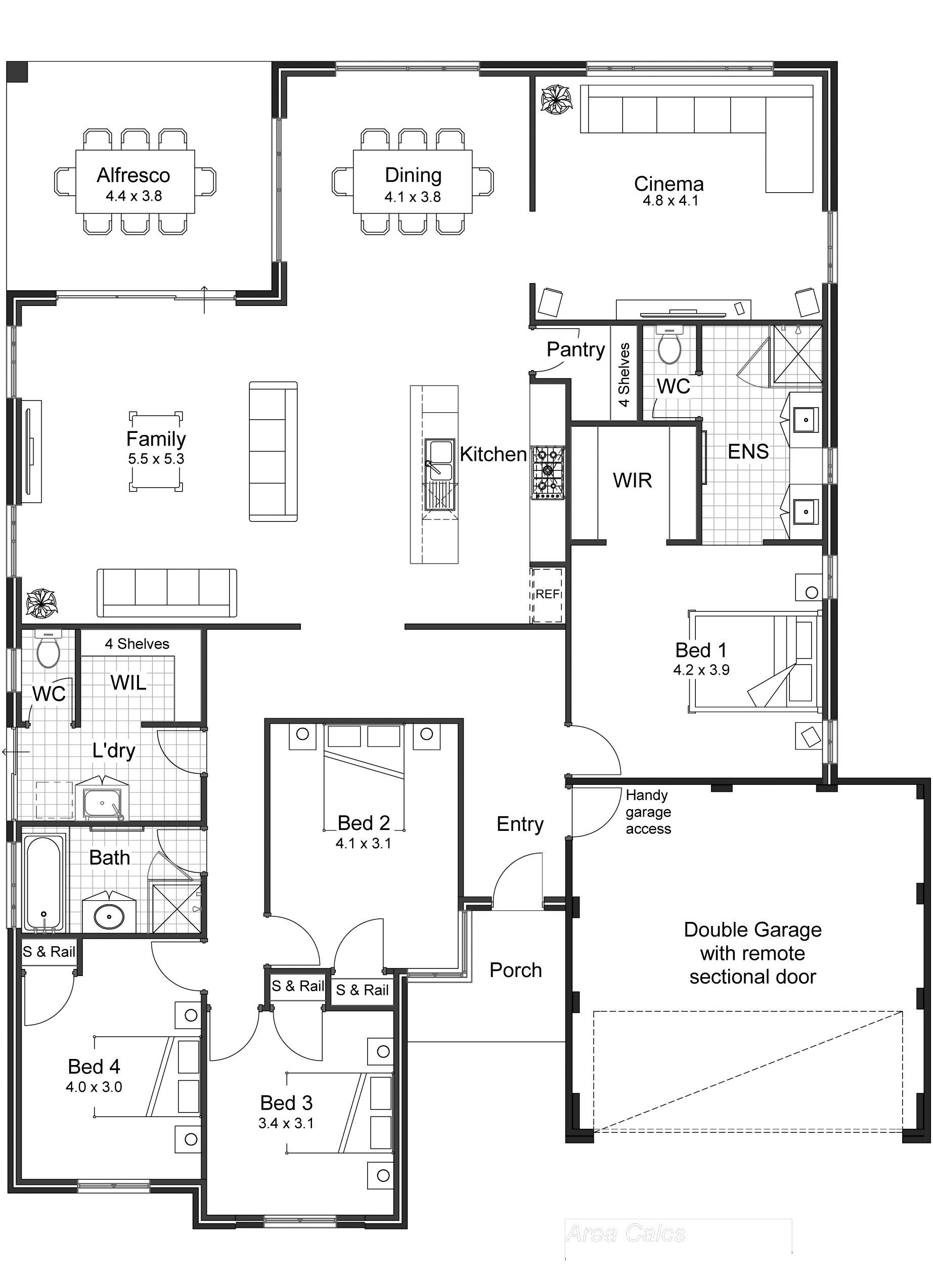 Bedroom House Plans Open Floor Plan Australia