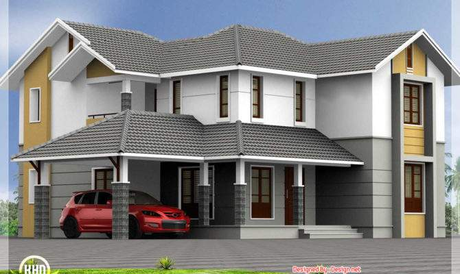 Bedroom Sloping Roof House Kerala Home