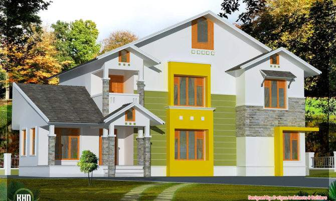 Bhk Sloping Roof House Design Plans