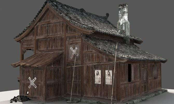 Chinese Old Wooden House Model
