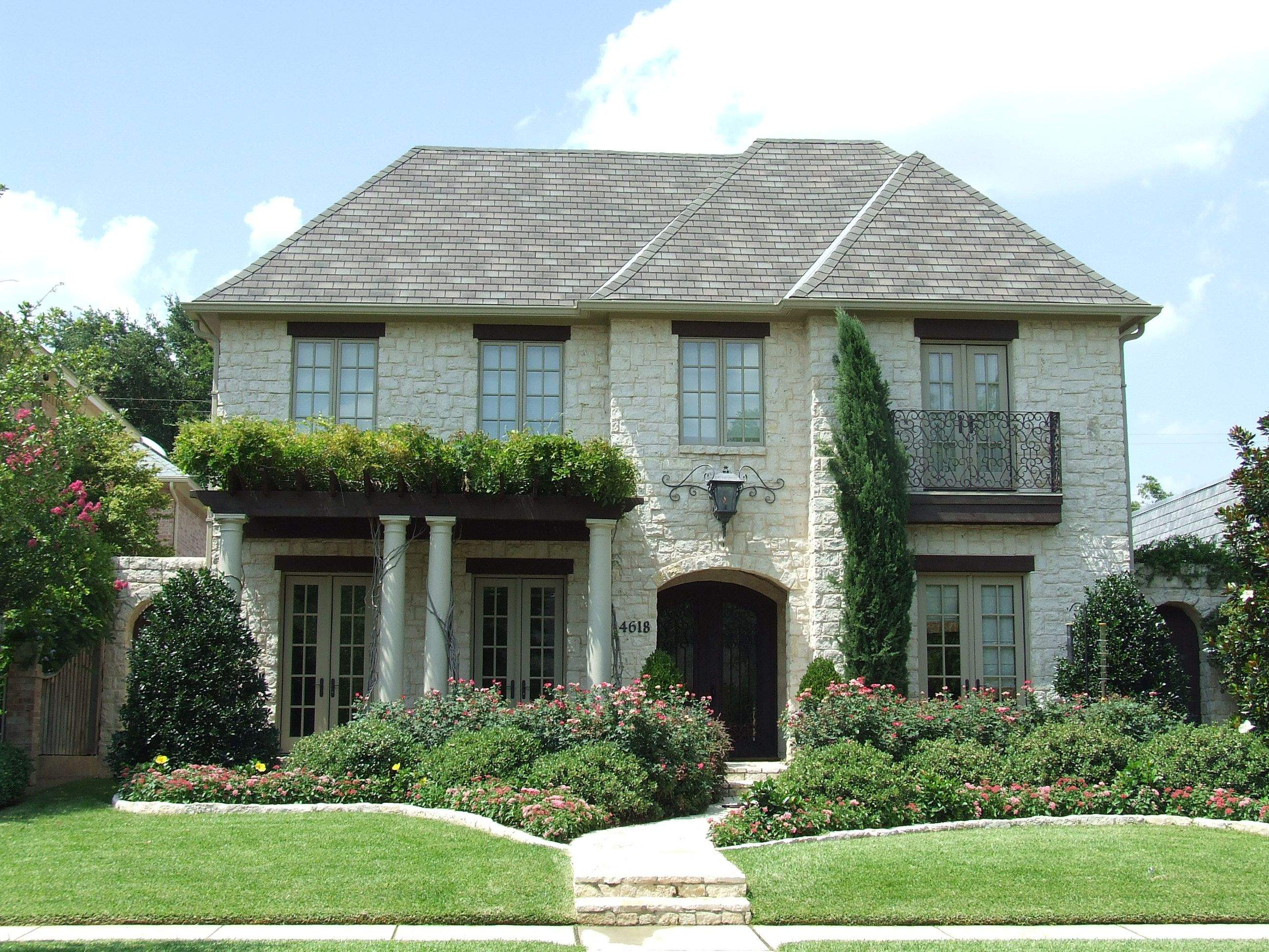 Classic French Country House Exterior White Framed Windows