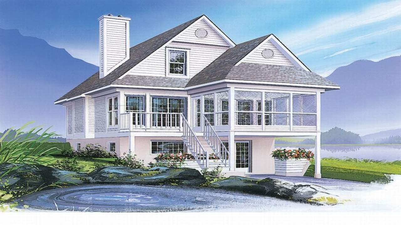Coastal House Plans Narrow Lots Waterfront Home