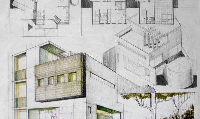 Contemporary House Architectural Drawing Arch Student