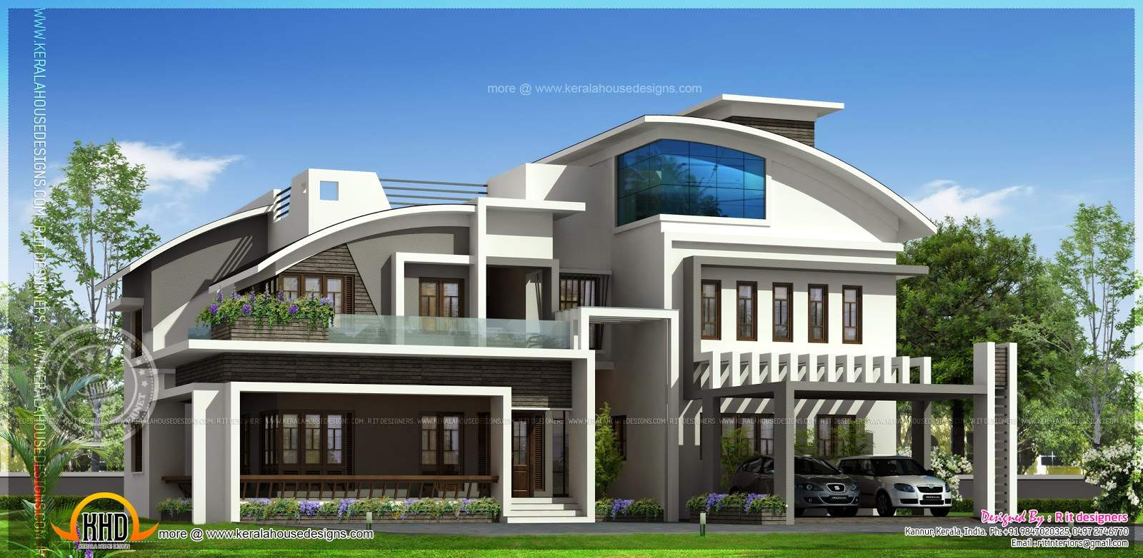 Contemporary Luxury House Elevation Square Feet Indian