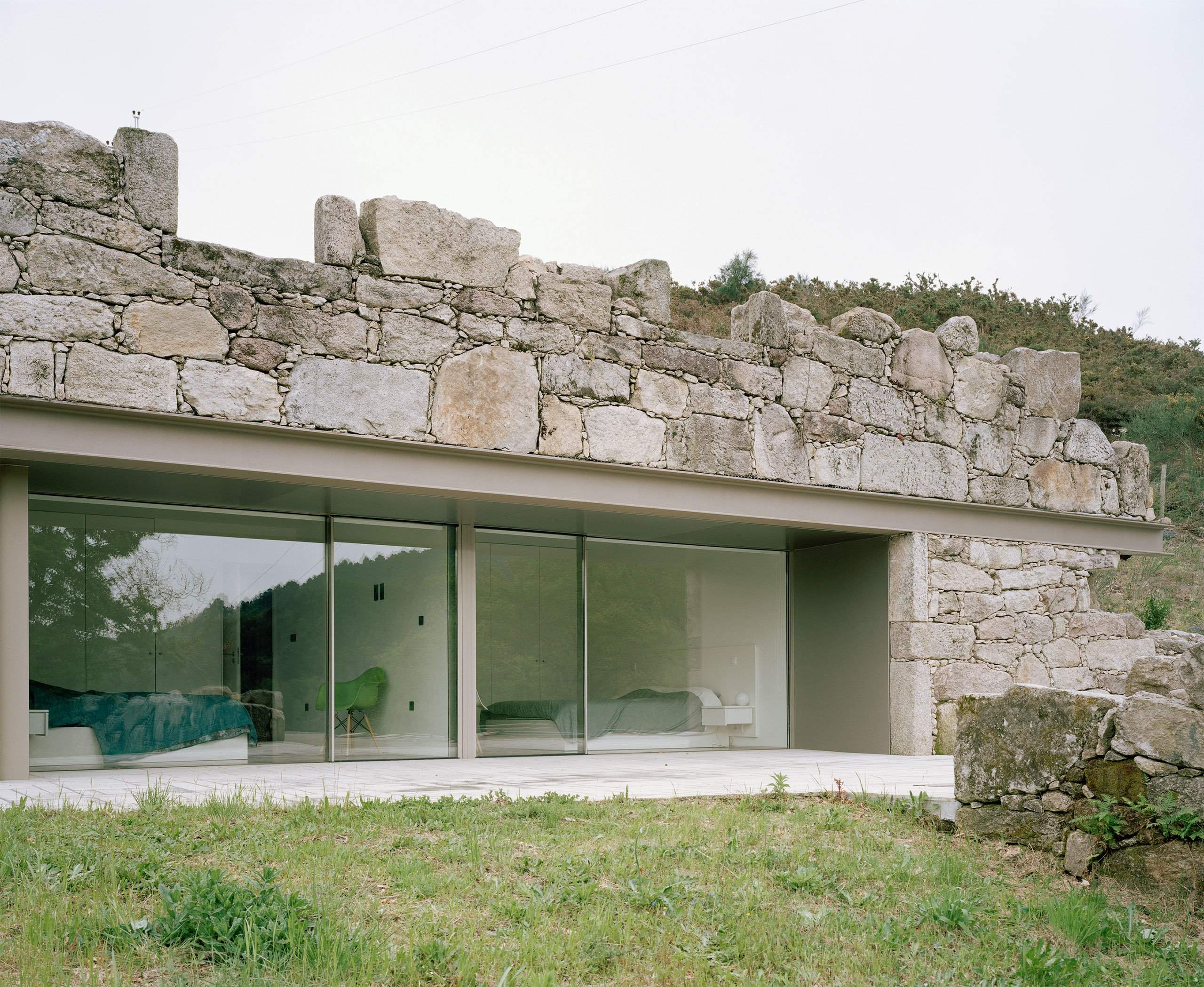 Contemporary Stone House Rises Old Ruins Portugal