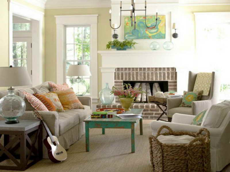 Cottage Style Living Room Furniture Fireplace Decoration
