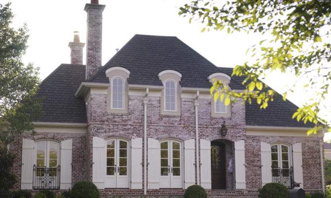 Country Home Designs Brick Wall Grey Roof White Window