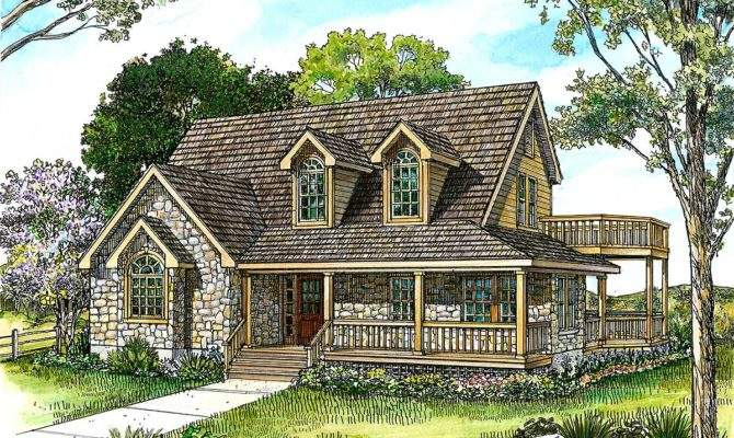 Country Stone Cottage Home Plan Architectural