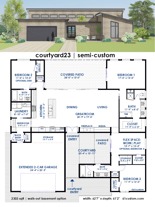 Courtyard Semi Custom Home Plan