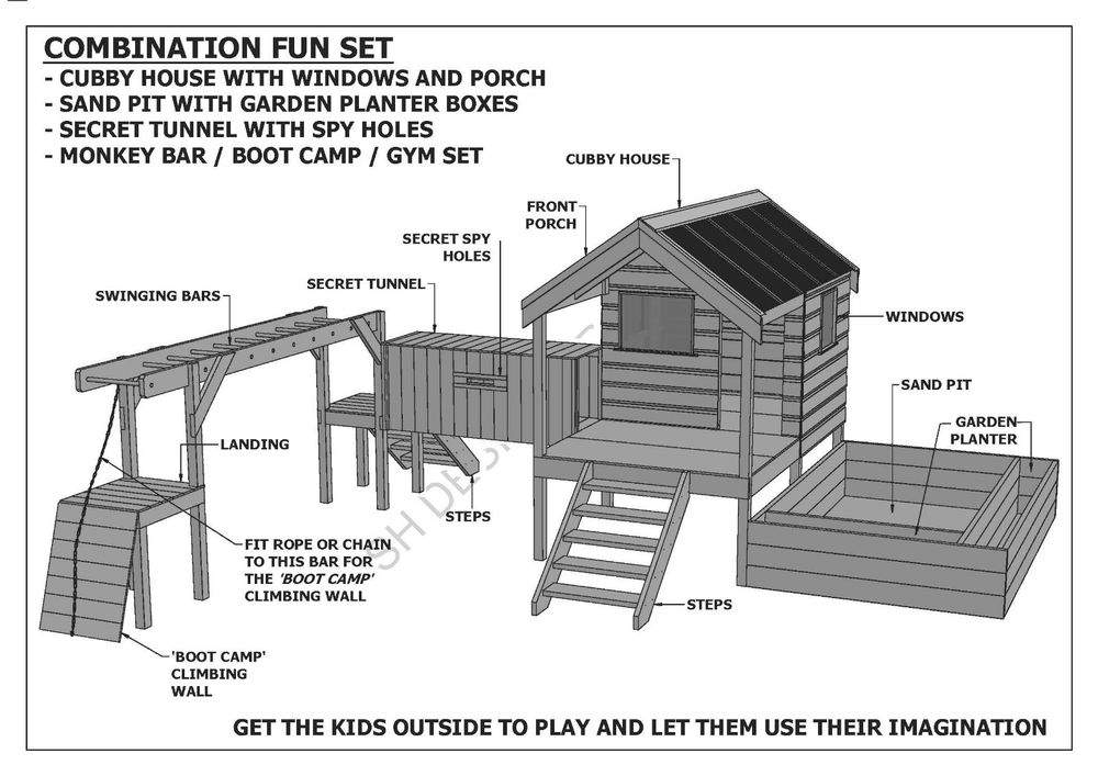 Cubby Play House Sand Pit Tunnel Gym Combo