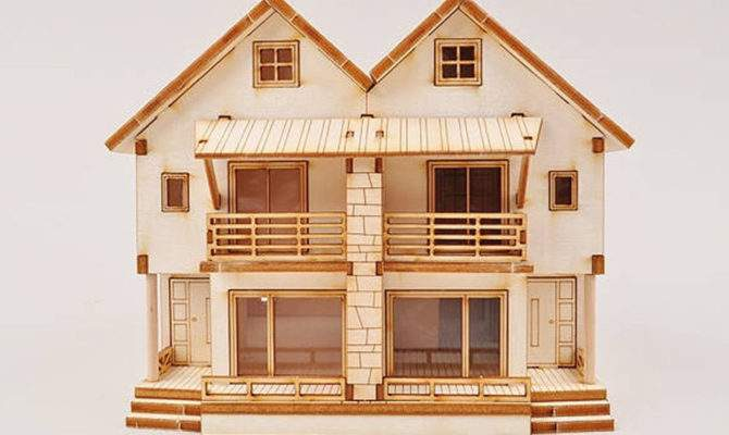 Duplex Wooden House Model Kit Scale Miniature