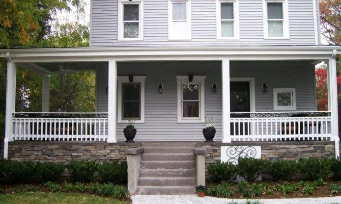 Farmhouse Large Covered Porch Lovely Paver Walkway Leads