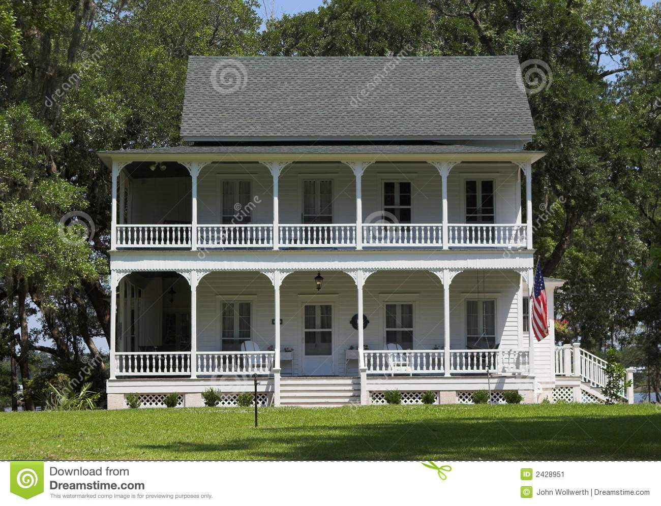 Federal Style Southern Plantation Home Double Porches