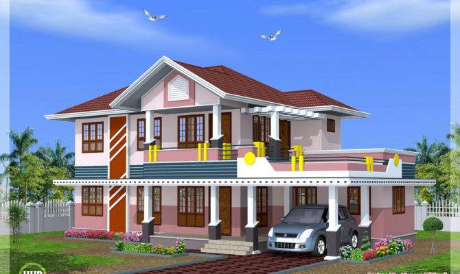 Feet Bedroom Sloped Roof House Design Kerala