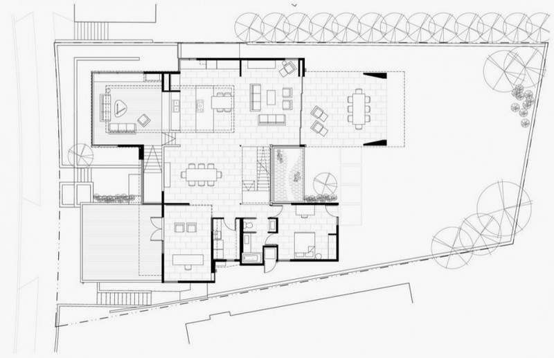 First Floor Plan Modern House Many Open Areas Home Building