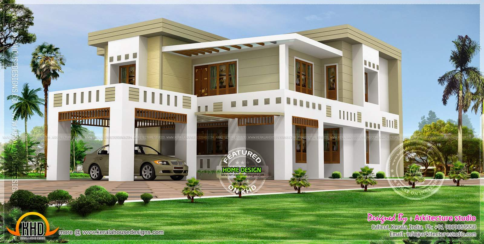 Flat Roof House Square Yards Kerala Home Design