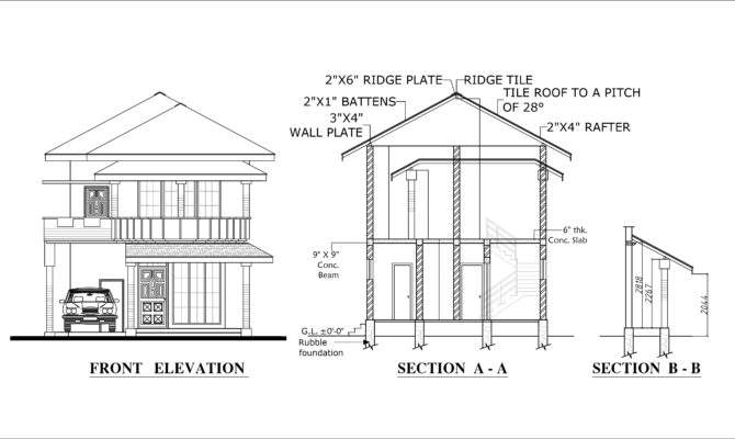 Four Bed Room Double Story House Plan