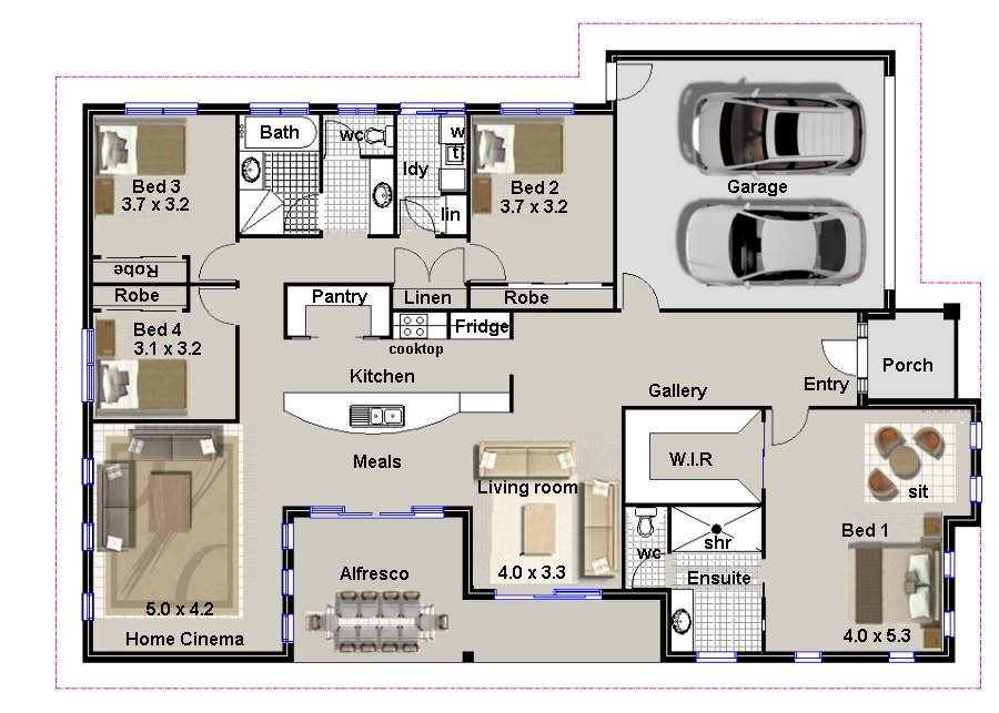 Four Bedroom House Plans Custom Photos
