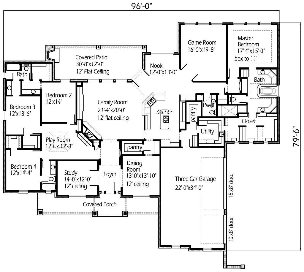 Four Bedroom Large House Floor Plans Layout