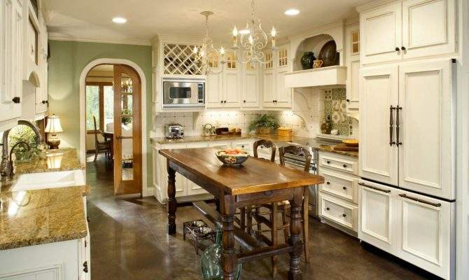 French Country Kitchen White Cabinets Chandeliers Hgtv