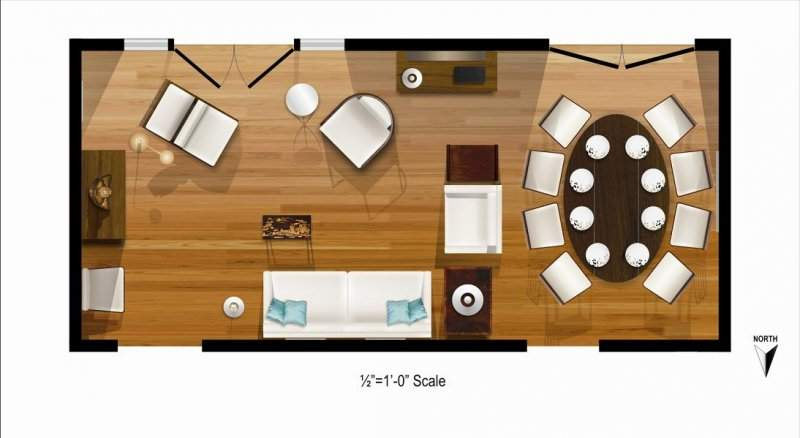 Frierson Living Room Dining Rendered Floor Plan Layout