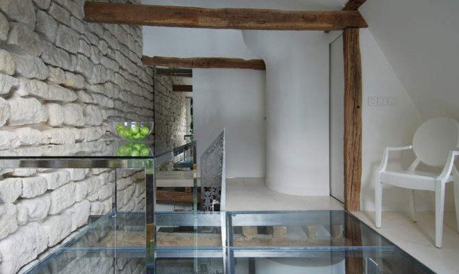 Glass Table Floor Stylish Two Apartment Paris France