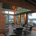 Glass Uppers Protect Outdoor Fireplace Screened Porch