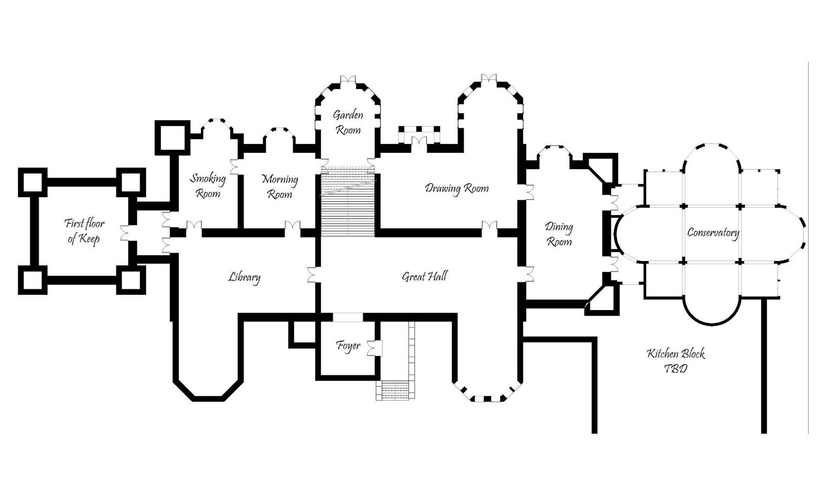 Gothic Mansion Floor Plans Rough Plan