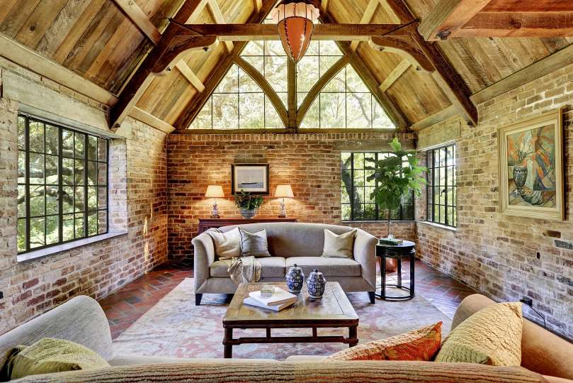 Home Features Storybook Style Brick Arches Rough Hewn Wood