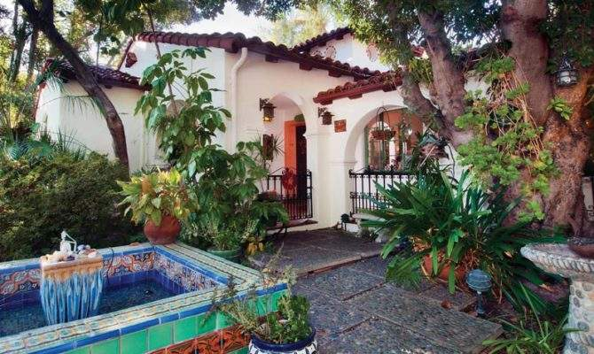 Homeowner Designed Traditional Spanish Fountain Courtyard