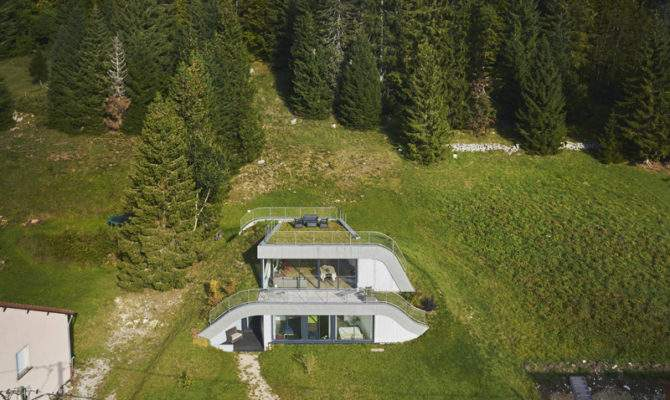 House Built Into Hillside France Contemporist
