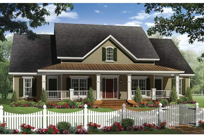 House Plan Four Bedroom Farmhouse Rear Side Load Garage