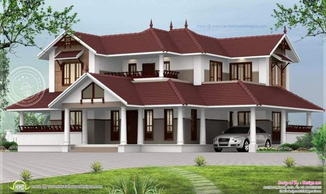 Kerala Style Sloping Roof Home Exterior