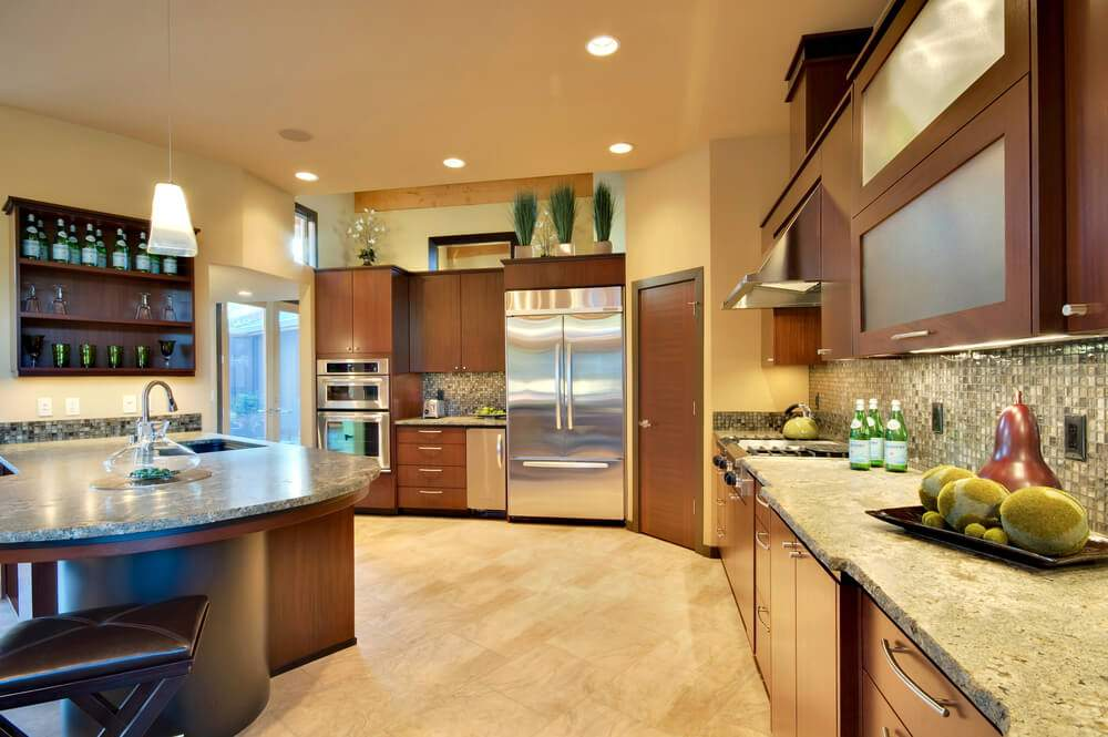 Large Modern Wood Kitchen Design Round Square Island