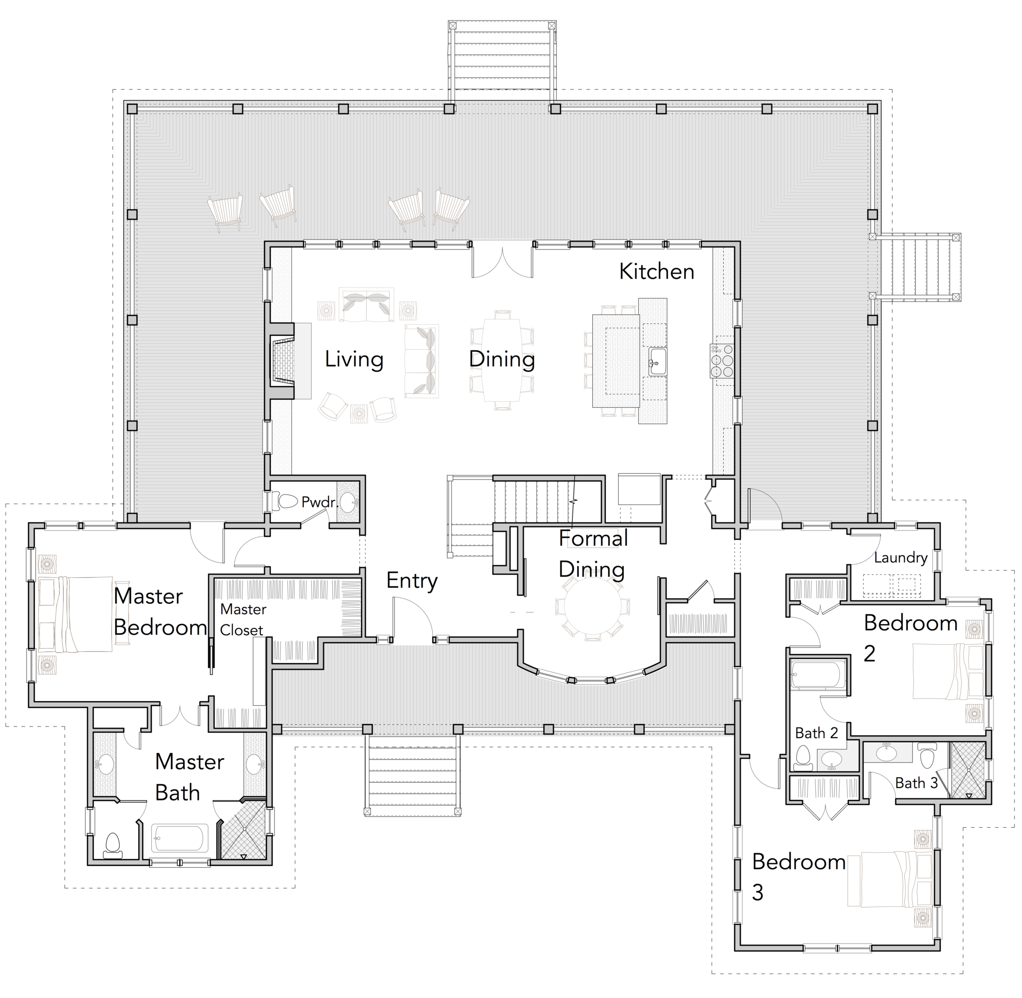 Large Open Floor Plans Wrap Around Porches Rest