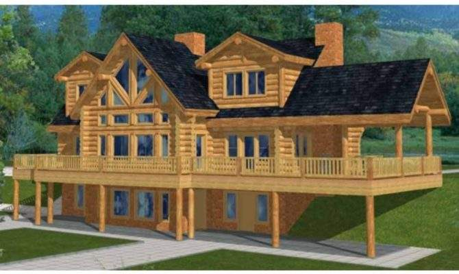 Log Cabin Woods Two Story House Plans