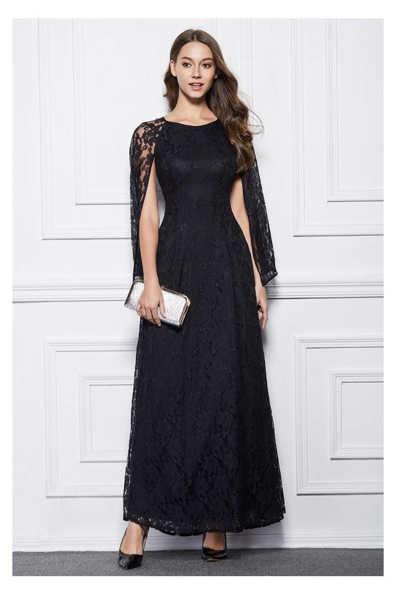 Long Lace Cape Style Party Dress Sheprom