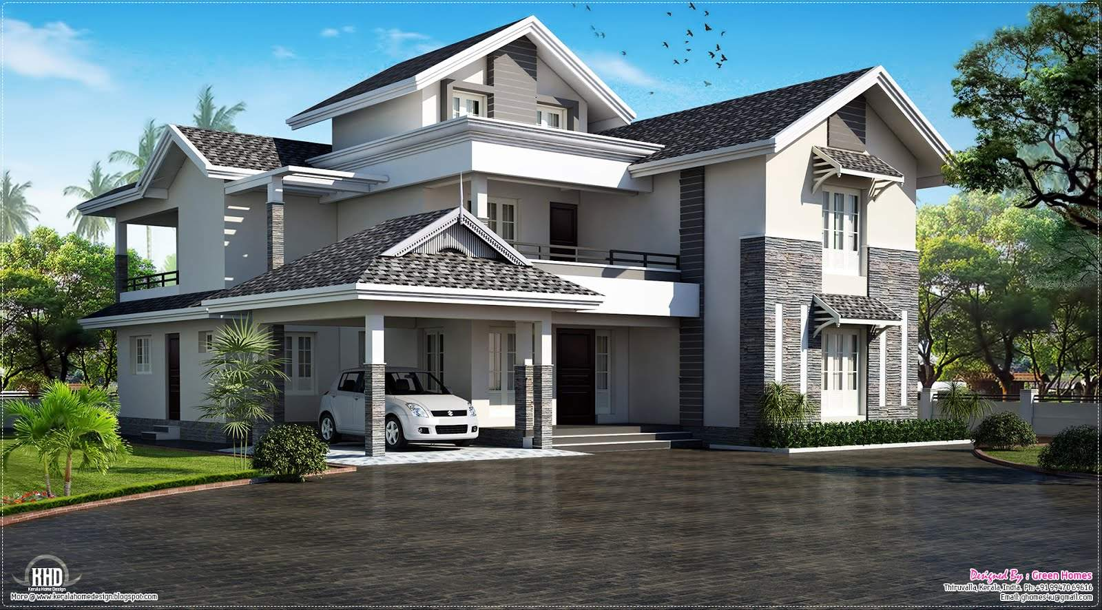 Modern Sloping Roof House Villa Design Plans