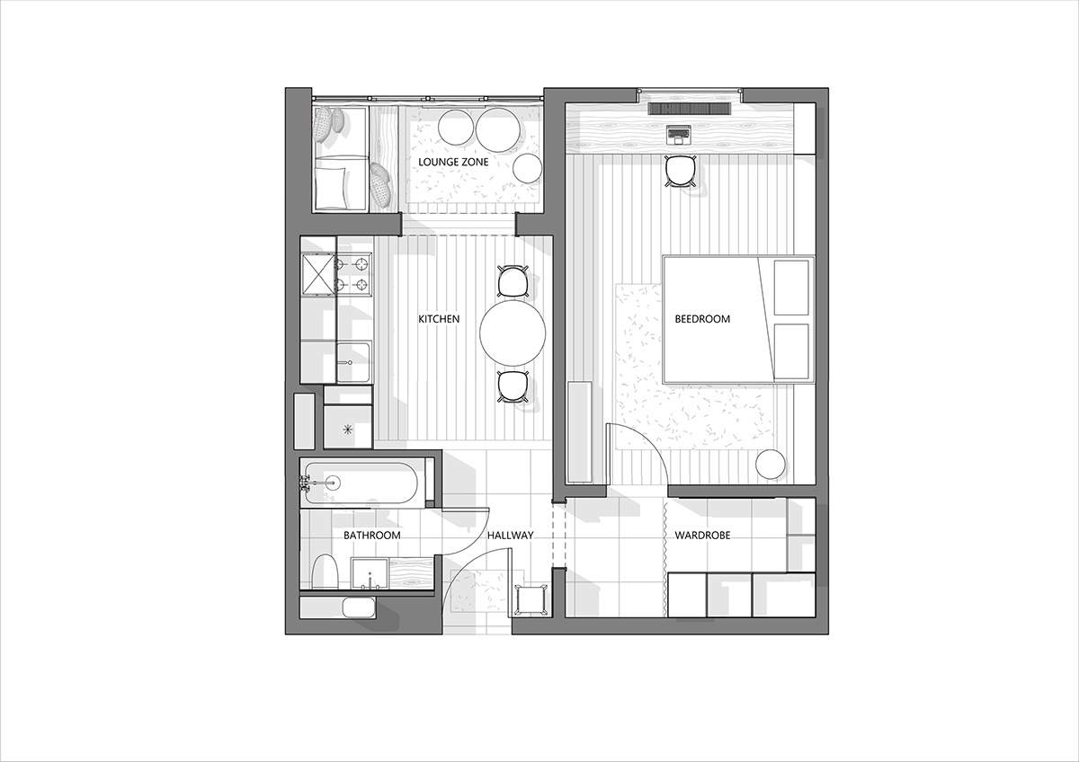 Modern Style Apartments Under Square Meters Includes