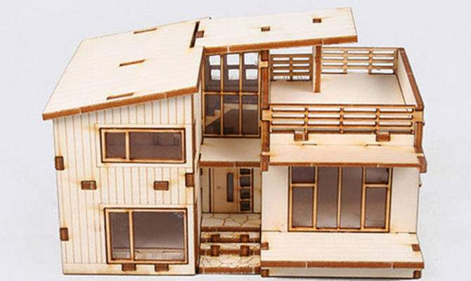 Modern Style House Wooden Model Kit Wood Miniature