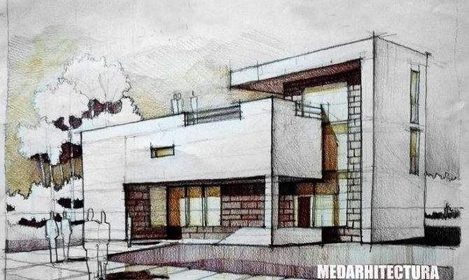 Modernist House Architectural Drawing Arch Student