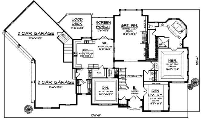 One Level House Plans Angled Garage Single