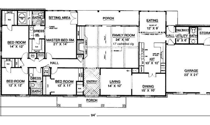 One Story Bedroom House Plans Intended